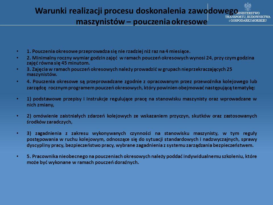 MINISTERSTWO TRANSPORTU, BUDOWNICTWA i GOSPODARKI MORSKIEJ Warunki realizacji procesu doskonalenia zawodowego maszynistów – pouczenia okresowe 1. Pouc