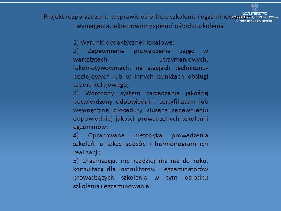 MINISTERSTWO TRANSPORTU, BUDOWNICTWA i GOSPODARKI MORSKIEJ. Projekt rozporządzenia w sprawie ośrodków szkolenia i egzaminowania – wymagania, jakie pow