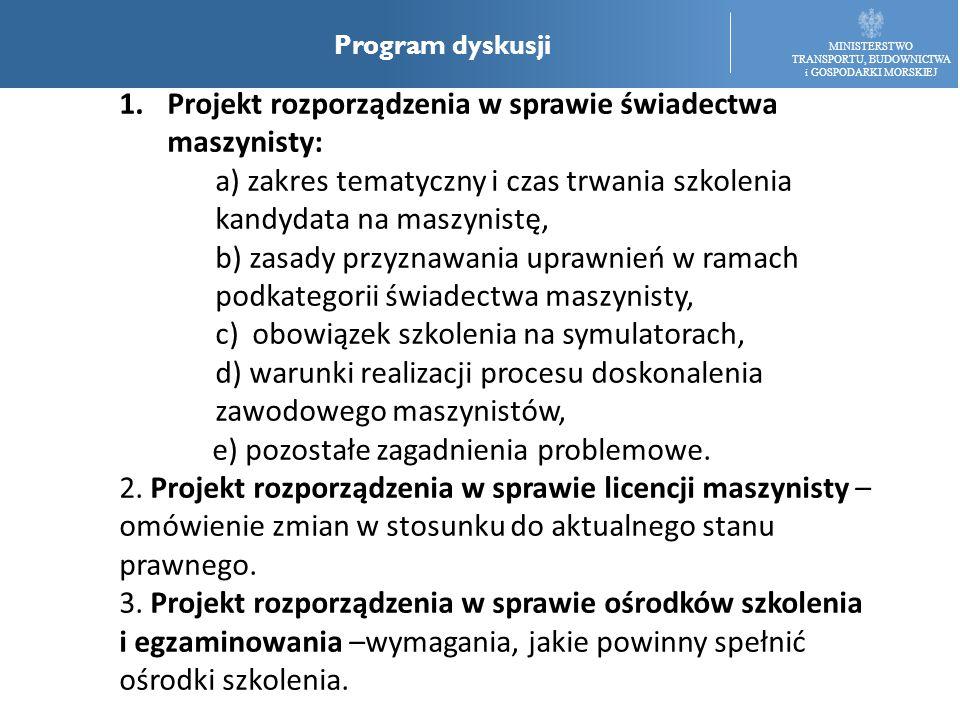MINISTERSTWO TRANSPORTU, BUDOWNICTWA i GOSPODARKI MORSKIEJ Program dyskusji 1.Projekt rozporządzenia w sprawie świadectwa maszynisty: a) zakres tematy