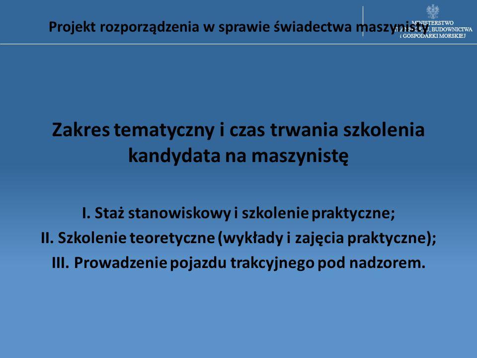 MINISTERSTWO TRANSPORTU, BUDOWNICTWA i GOSPODARKI MORSKIEJ Projekt rozporządzenia w sprawie świadectwa maszynisty Zakres tematyczny i czas trwania szk