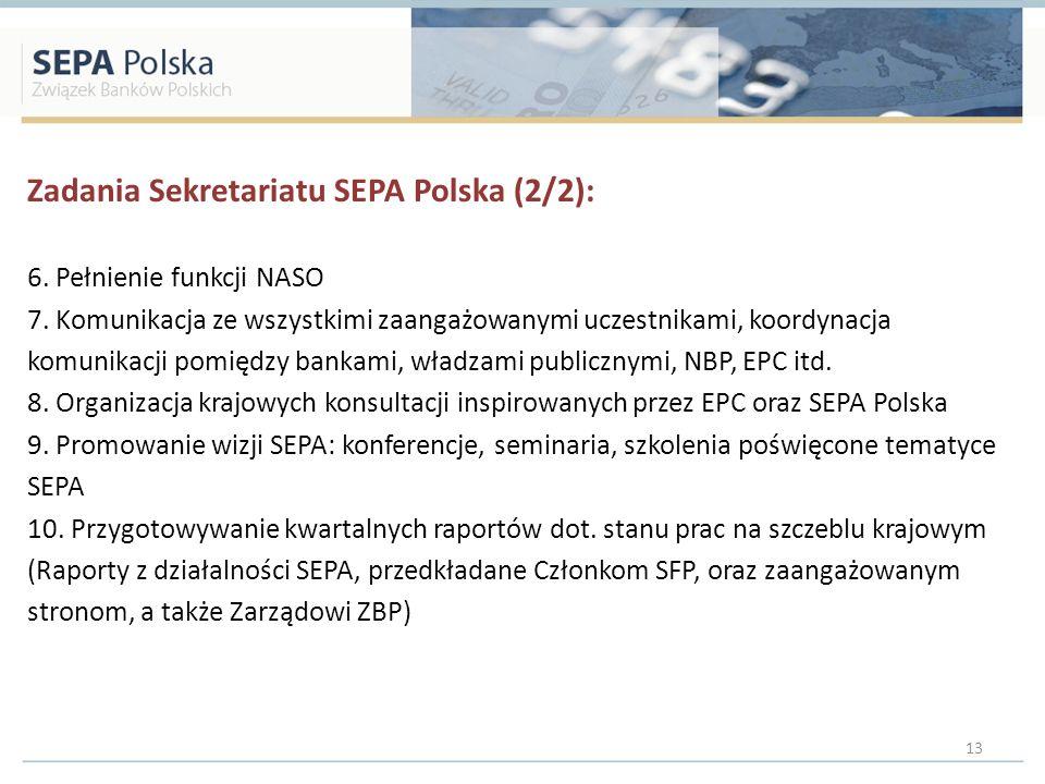 Zadania Sekretariatu SEPA Polska (2/2): 6. Pełnienie funkcji NASO 7. Komunikacja ze wszystkimi zaangażowanymi uczestnikami, koordynacja komunikacji po