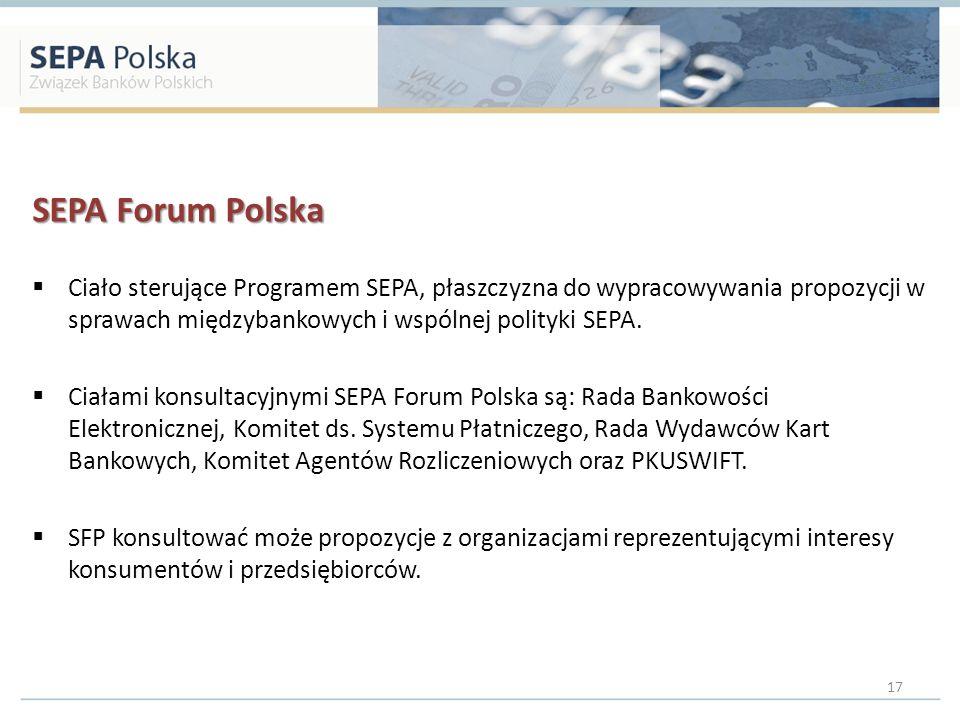 SEPA Forum Polska Ciało sterujące Programem SEPA, płaszczyzna do wypracowywania propozycji w sprawach międzybankowych i wspólnej polityki SEPA. Ciałam