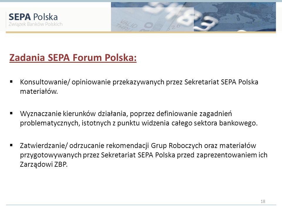 Zadania SEPA Forum Polska: Konsultowanie/ opiniowanie przekazywanych przez Sekretariat SEPA Polska materiałów. Wyznaczanie kierunków działania, poprze