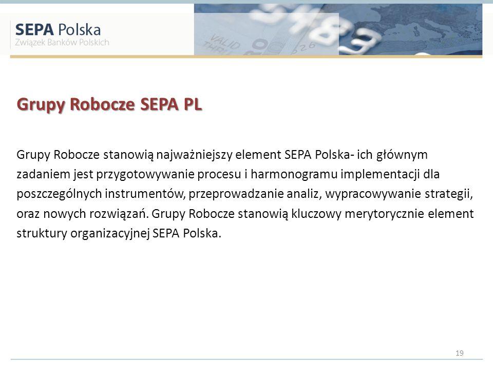 Grupy Robocze SEPA PL Grupy Robocze stanowią najważniejszy element SEPA Polska- ich głównym zadaniem jest przygotowywanie procesu i harmonogramu imple