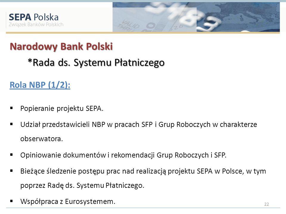 Narodowy Bank Polski *Rada ds. Systemu Płatniczego *Rada ds. Systemu Płatniczego Rola NBP (1/2): Popieranie projektu SEPA. Udział przedstawicieli NBP