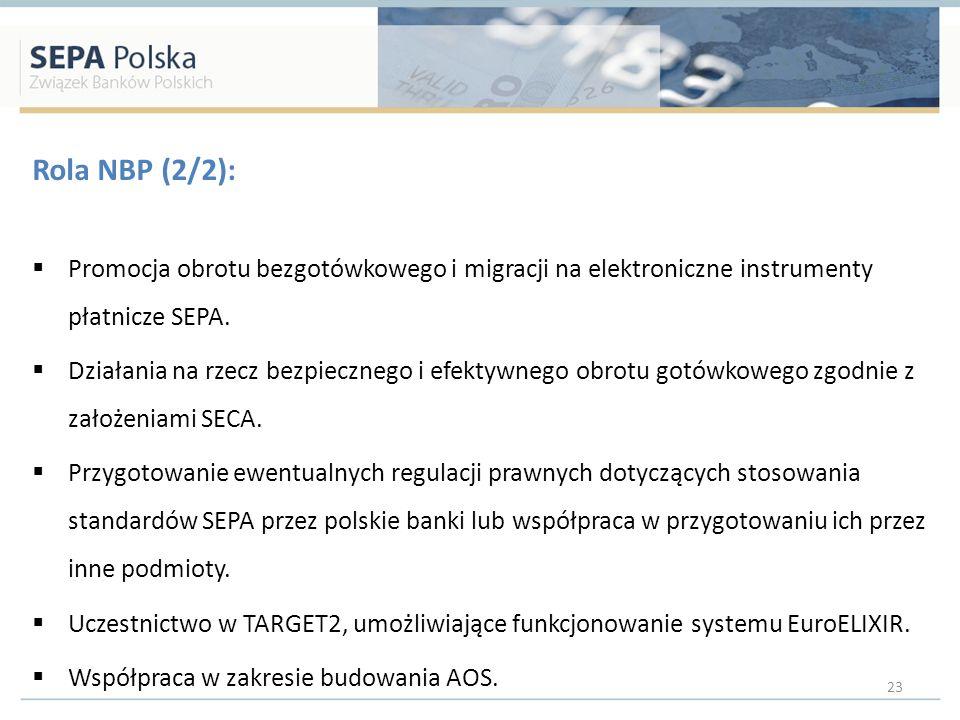 Rola NBP (2/2): Promocja obrotu bezgotówkowego i migracji na elektroniczne instrumenty płatnicze SEPA. Działania na rzecz bezpiecznego i efektywnego o