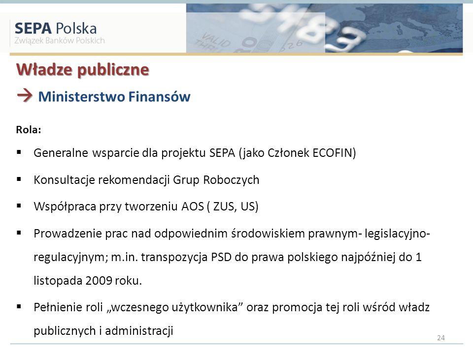 Władze publiczne Ministerstwo Finansów Rola: Generalne wsparcie dla projektu SEPA (jako Członek ECOFIN) Konsultacje rekomendacji Grup Roboczych Współpraca przy tworzeniu AOS ( ZUS, US) Prowadzenie prac nad odpowiednim środowiskiem prawnym- legislacyjno- regulacyjnym; m.in.