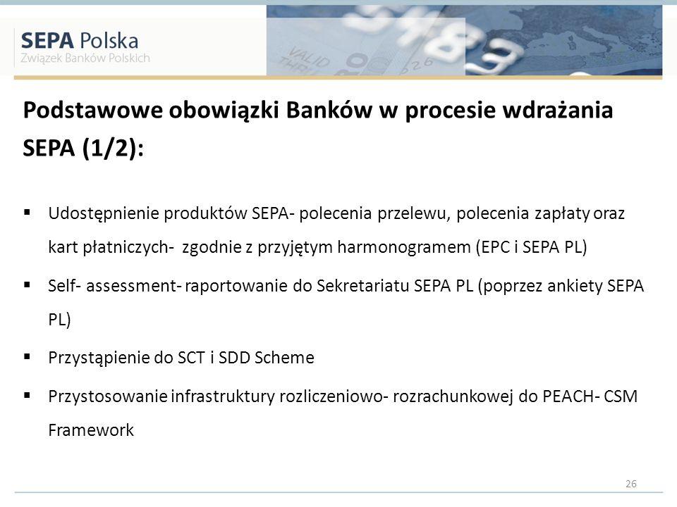 Podstawowe obowiązki Banków w procesie wdrażania SEPA (1/2): Udostępnienie produktów SEPA- polecenia przelewu, polecenia zapłaty oraz kart płatniczych- zgodnie z przyjętym harmonogramem (EPC i SEPA PL) Self- assessment- raportowanie do Sekretariatu SEPA PL (poprzez ankiety SEPA PL) Przystąpienie do SCT i SDD Scheme Przystosowanie infrastruktury rozliczeniowo- rozrachunkowej do PEACH- CSM Framework 26