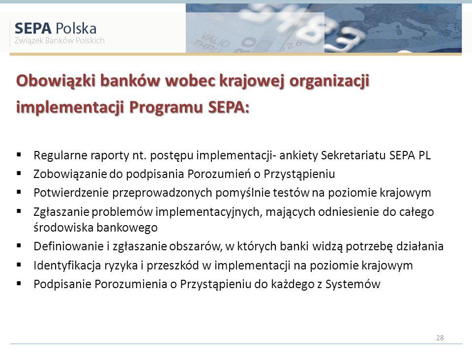 Obowiązki banków wobec krajowej organizacji implementacji Programu SEPA: Regularne raporty nt. postępu implementacji- ankiety Sekretariatu SEPA PL Zob