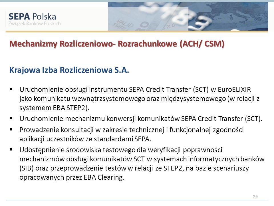 Mechanizmy Rozliczeniowo- Rozrachunkowe (ACH/ CSM) Krajowa Izba Rozliczeniowa S.A. Uruchomienie obsługi instrumentu SEPA Credit Transfer (SCT) w EuroE