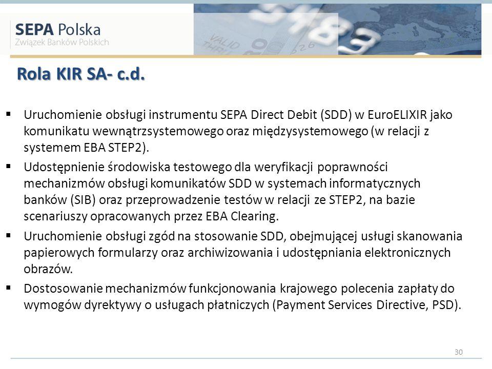 Rola KIR SA- c.d. Uruchomienie obsługi instrumentu SEPA Direct Debit (SDD) w EuroELIXIR jako komunikatu wewnątrzsystemowego oraz międzysystemowego (w