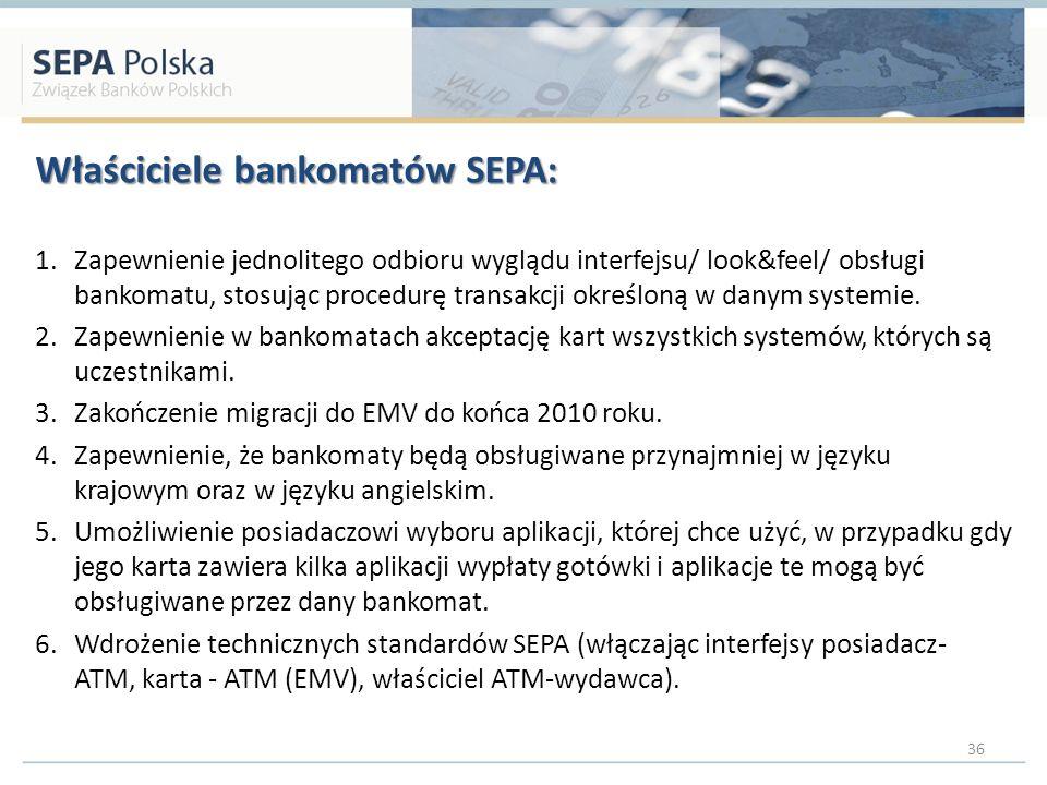 Właściciele bankomatów SEPA: 1.Zapewnienie jednolitego odbioru wyglądu interfejsu/ look&feel/ obsługi bankomatu, stosując procedurę transakcji określoną w danym systemie.