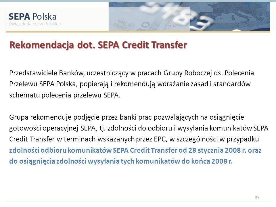 Rekomendacja dot. SEPA Credit Transfer Przedstawiciele Banków, uczestniczący w pracach Grupy Roboczej ds. Polecenia Przelewu SEPA Polska, popierają i