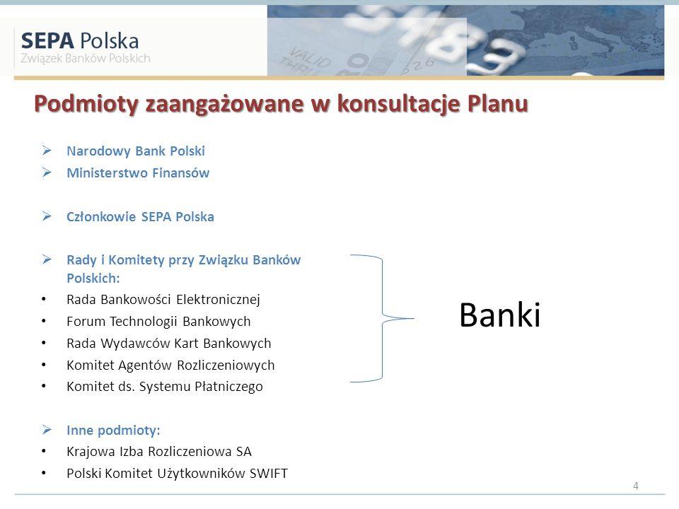 Podmioty zaangażowane w konsultacje Planu Narodowy Bank Polski Ministerstwo Finansów Członkowie SEPA Polska Rady i Komitety przy Związku Banków Polskich: Rada Bankowości Elektronicznej Forum Technologii Bankowych Rada Wydawców Kart Bankowych Komitet Agentów Rozliczeniowych Komitet ds.