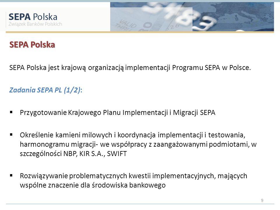 SEPA Polska SEPA Polska jest krajową organizacją implementacji Programu SEPA w Polsce. Zadania SEPA PL (1/2): Przygotowanie Krajowego Planu Implementa