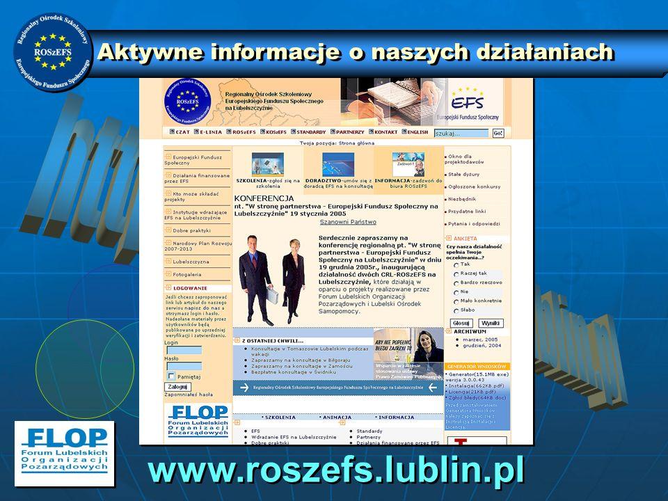 Aktywne informacje o naszych działaniach www.roszefs.lublin.pl