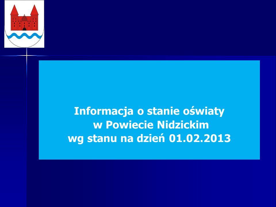 Informacja o stanie oświaty w Powiecie Nidzickim wg stanu na dzień 01.02.2013