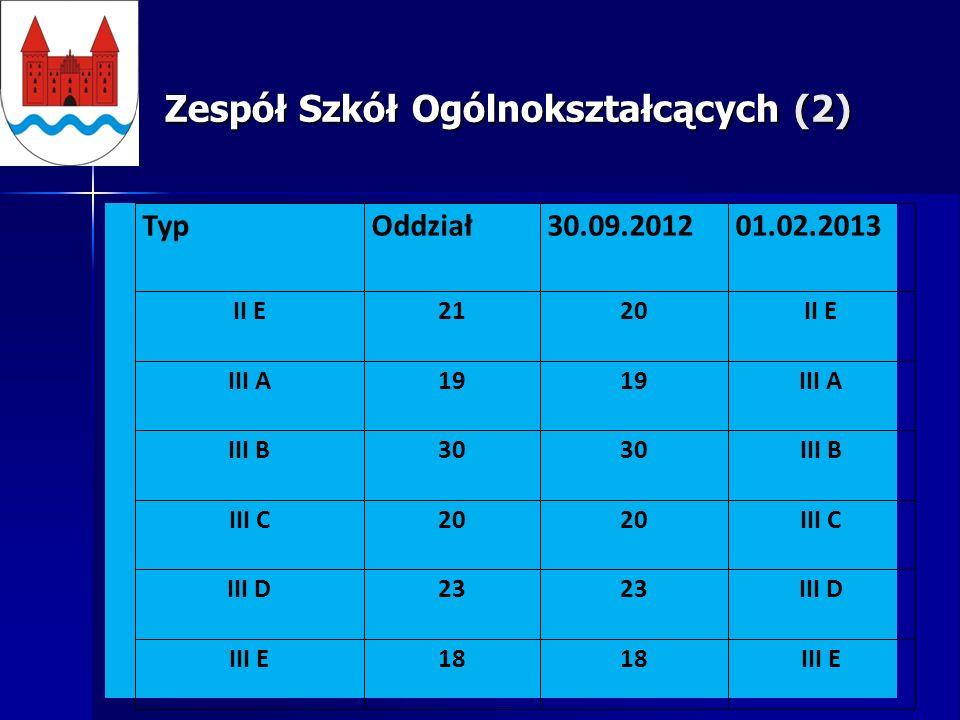 Zespół Szkół Ogólnokształcących (2) TypOddział30.09.201201.02.2013 II E2120II E III A19 III A III B30 III B III C20 III C III D23 III D III E18 III E