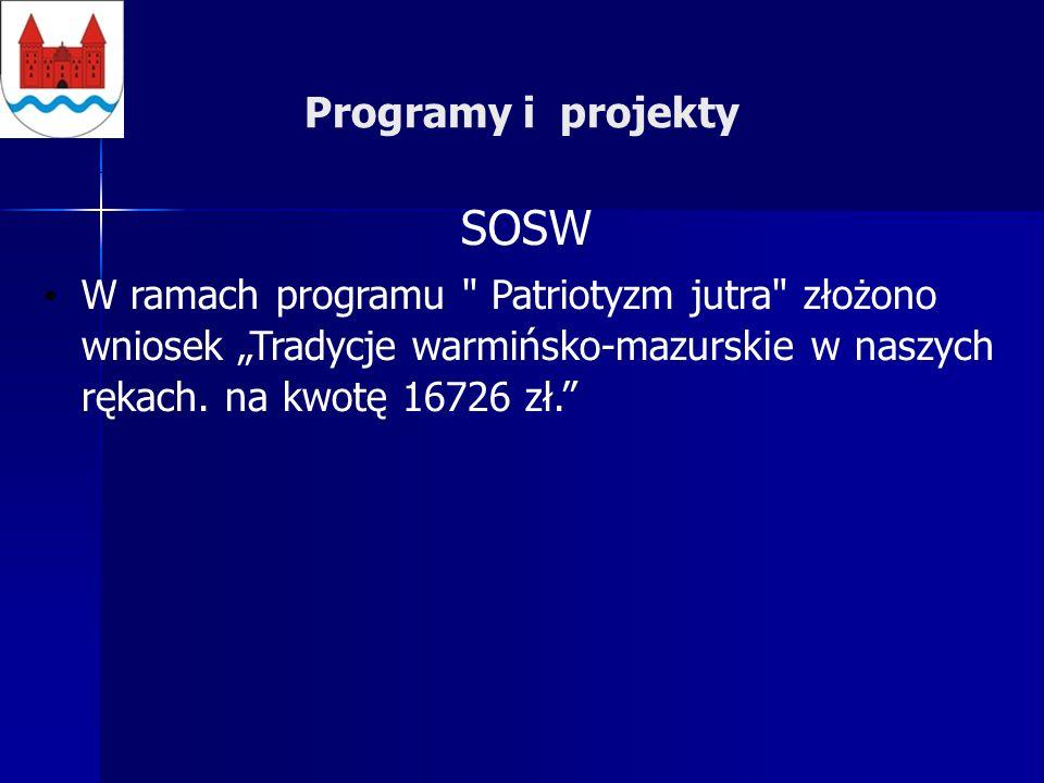 Programy i projekty SOSW W ramach programu Patriotyzm jutra złożono wniosek Tradycje warmińsko-mazurskie w naszych rękach.