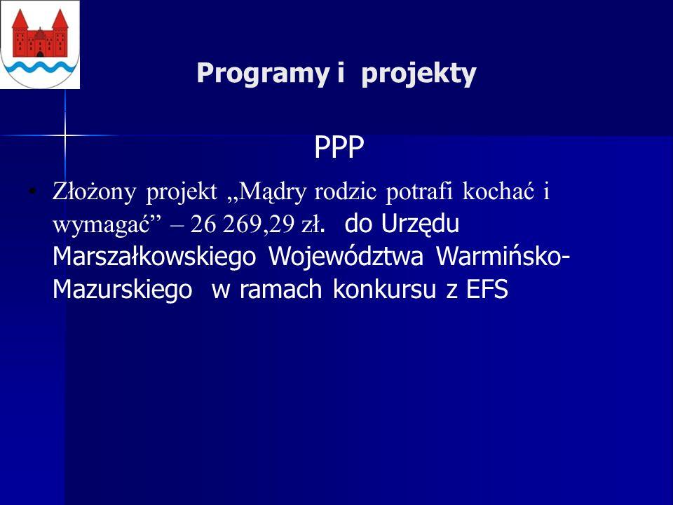 Programy i projekty PPP Złożony projekt Mądry rodzic potrafi kochać i wymagać – 26 269,29 zł.