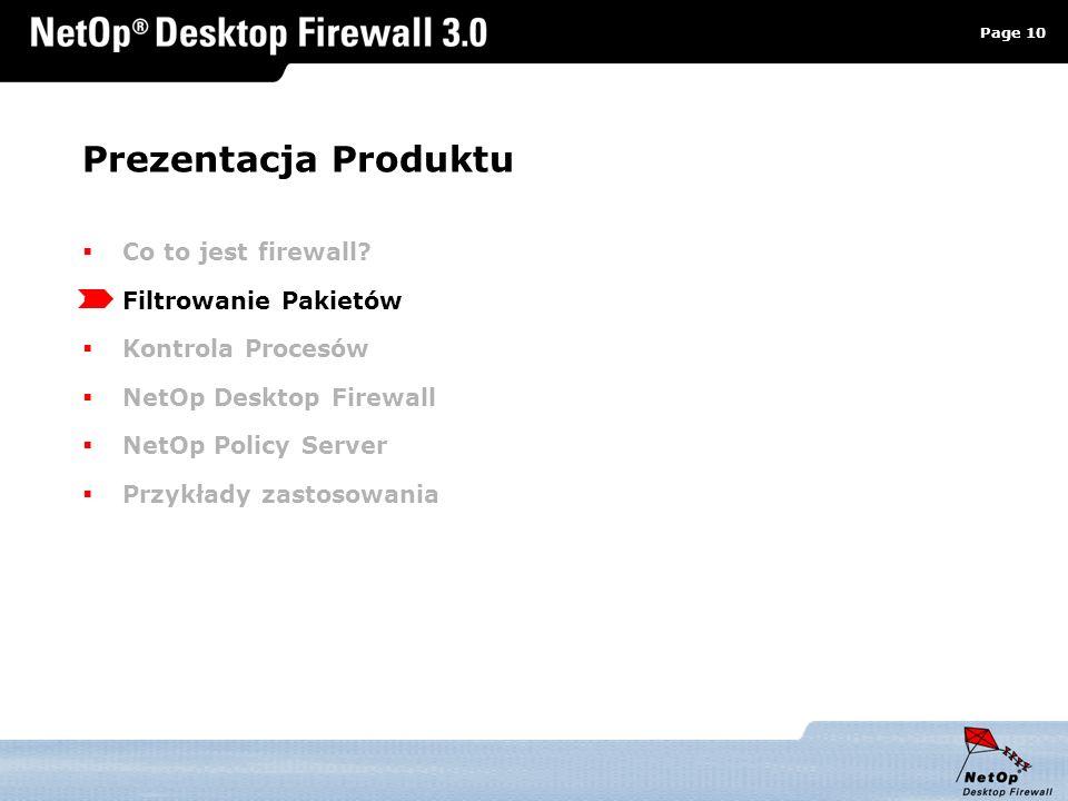Page 10 www.netop.pl a Prezentacja Produktu Co to jest firewall? Filtrowanie Pakietów Kontrola Procesów NetOp Desktop Firewall NetOp Policy Server Prz