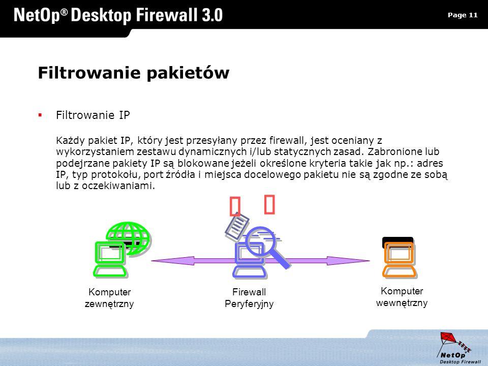 Page 11 www.netop.pl a Filtrowanie pakietów Filtrowanie IP Każdy pakiet IP, który jest przesyłany przez firewall, jest oceniany z wykorzystaniem zesta