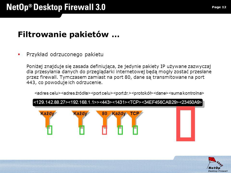 Page 12 www.netop.pl a Filtrowanie pakietów … Przykład odrzuconego pakietu Poniżej znajduje się zasada definiująca, że jedynie pakiety IP używane zazw