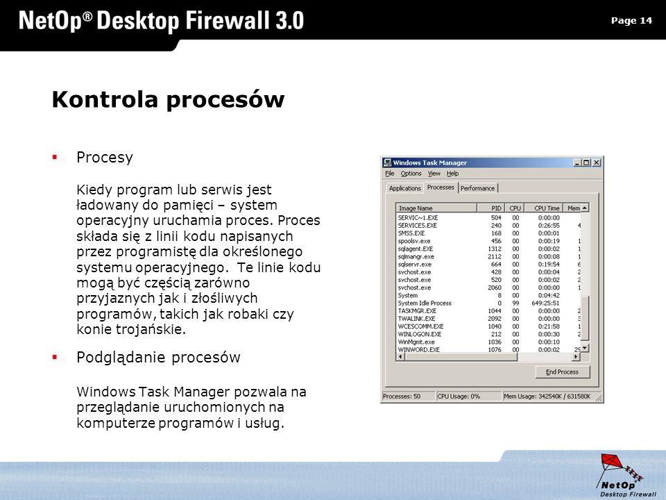 Page 14 www.netop.pl a Kontrola procesów Procesy Kiedy program lub serwis jest ładowany do pamięci – system operacyjny uruchamia proces. Proces składa