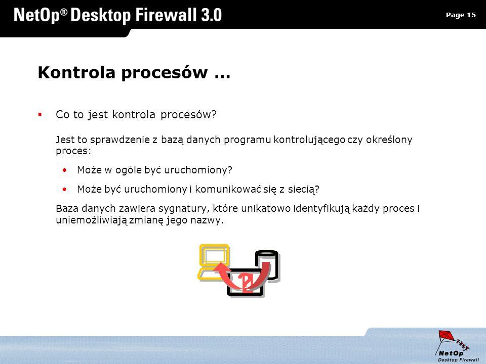 Page 15 www.netop.pl a Kontrola procesów … Co to jest kontrola procesów? Jest to sprawdzenie z bazą danych programu kontrolującego czy określony proce