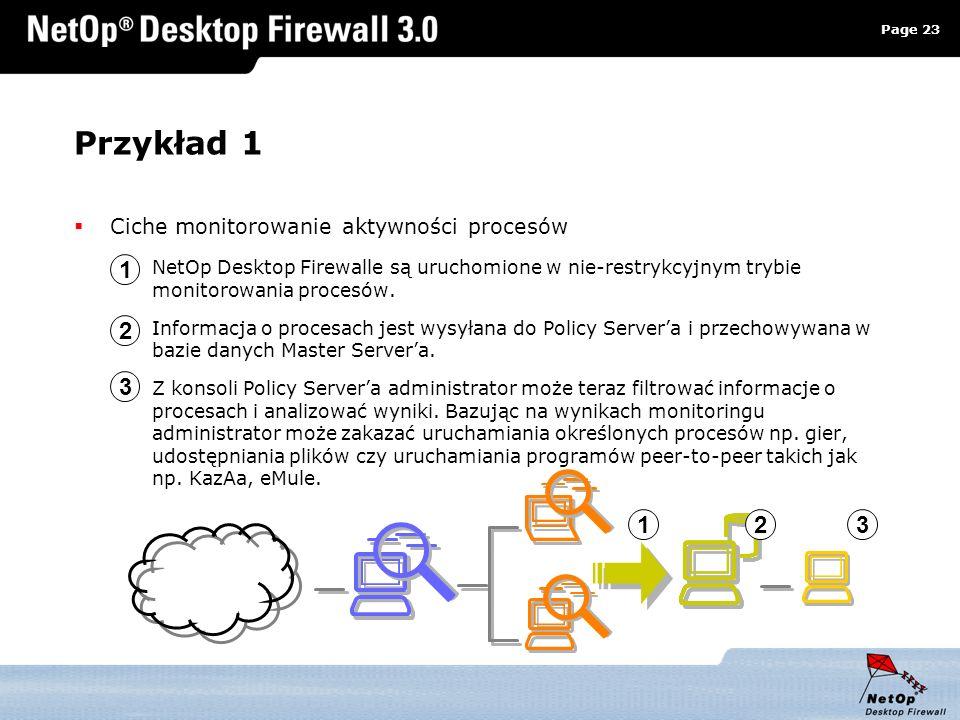 Page 23 www.netop.pl a Przykład 1 Ciche monitorowanie aktywności procesów NetOp Desktop Firewalle są uruchomione w nie-restrykcyjnym trybie monitorowa