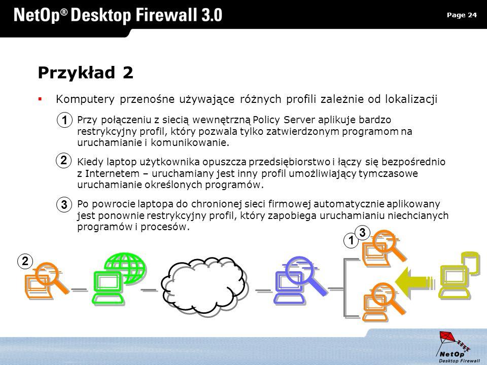 Page 24 www.netop.pl a Przykład 2 Komputery przenośne używające różnych profili zależnie od lokalizacji Przy połączeniu z siecią wewnętrzną Policy Ser