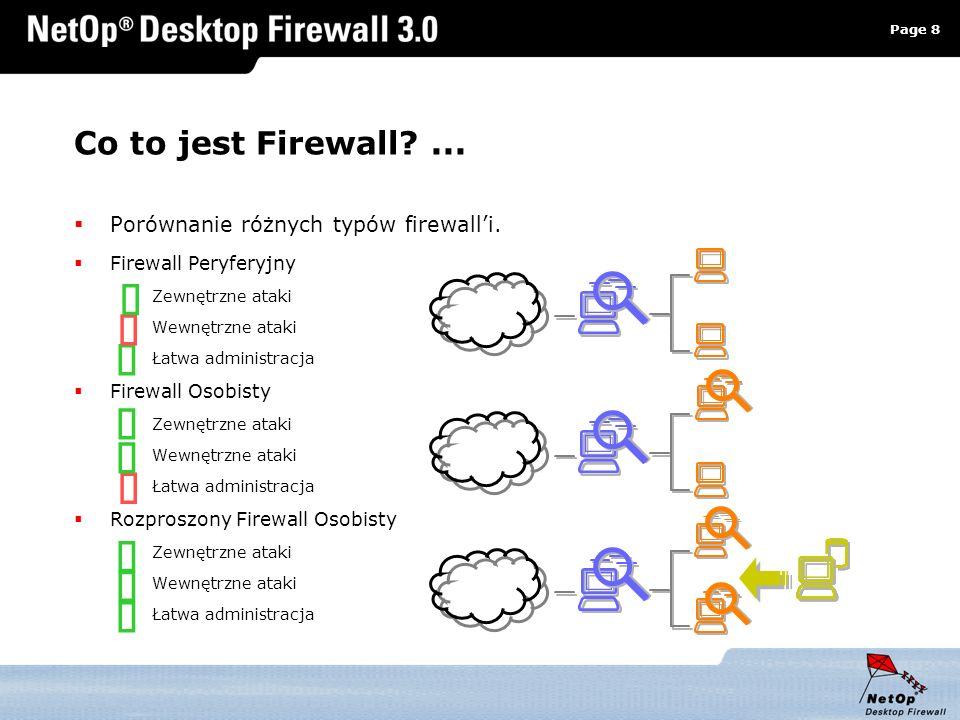 Page 8 www.netop.pl a Co to jest Firewall?... Porównanie różnych typów firewalli. Firewall Peryferyjny Zewnętrzne ataki Wewnętrzne ataki Łatwa adminis