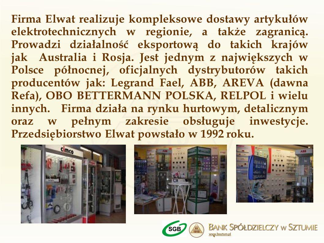Firma Elwat realizuje kompleksowe dostawy artykułów elektrotechnicznych w regionie, a także zagranicą. Prowadzi działalność eksportową do takich krajó