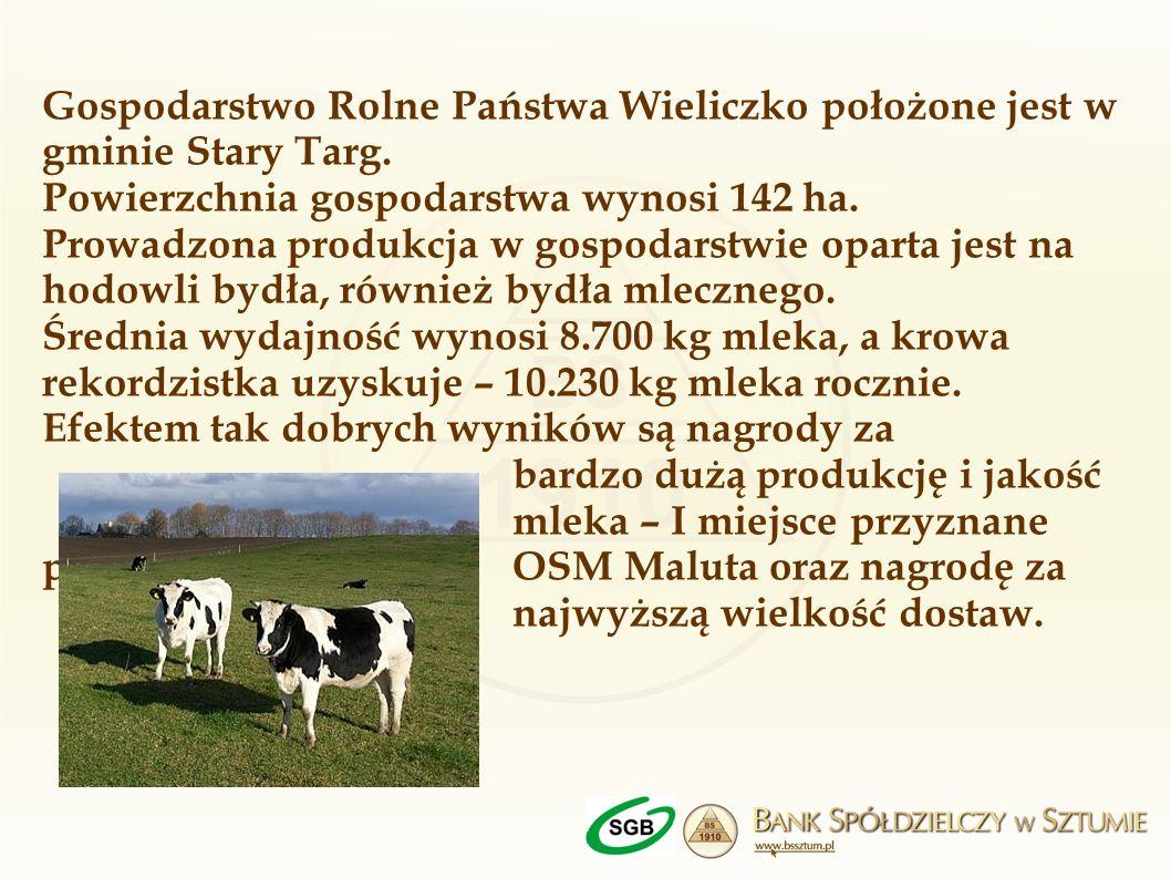 Gospodarstwo Rolne Państwa Wieliczko położone jest w gminie Stary Targ. Powierzchnia gospodarstwa wynosi 142 ha. Prowadzona produkcja w gospodarstwie