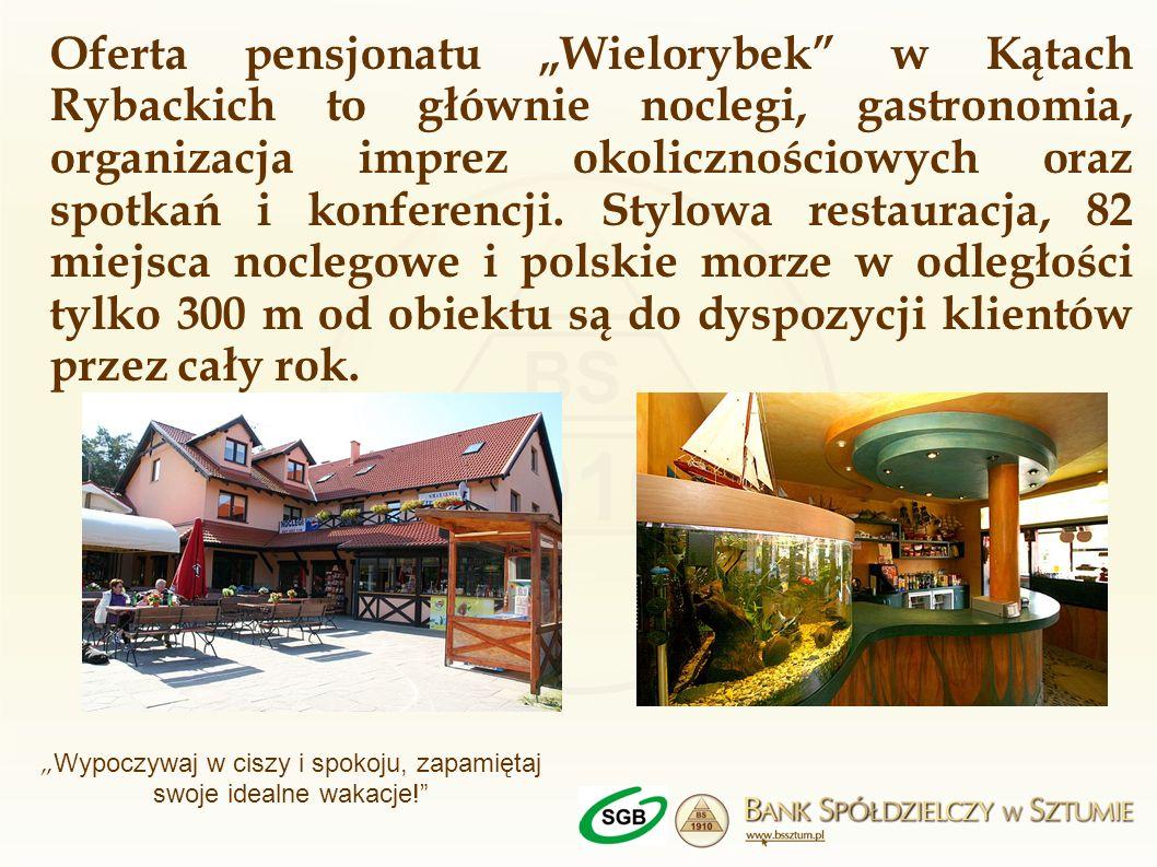Oferta pensjonatu Wielorybek w Kątach Rybackich to głównie noclegi, gastronomia, organizacja imprez okolicznościowych oraz spotkań i konferencji. Styl