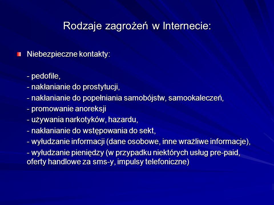 Rodzaje zagrożeń w Internecie: Niebezpieczne kontakty: - pedofile, - nakłanianie do prostytucji, - nakłanianie do popełniania samobójstw, samookalecze