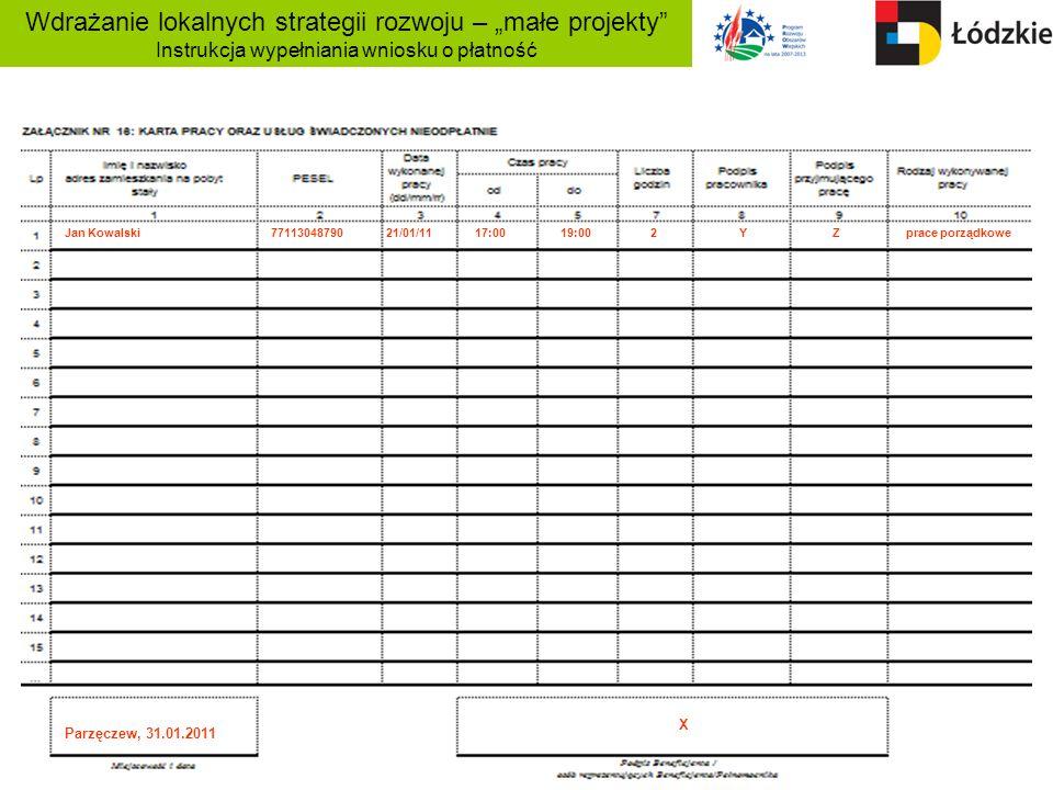 Wdrażanie lokalnych strategii rozwoju – małe projekty Instrukcja wypełniania wniosku o płatność Jan Kowalski 77113048790 21/01/11 17:00 19:00 2 Y Z pr