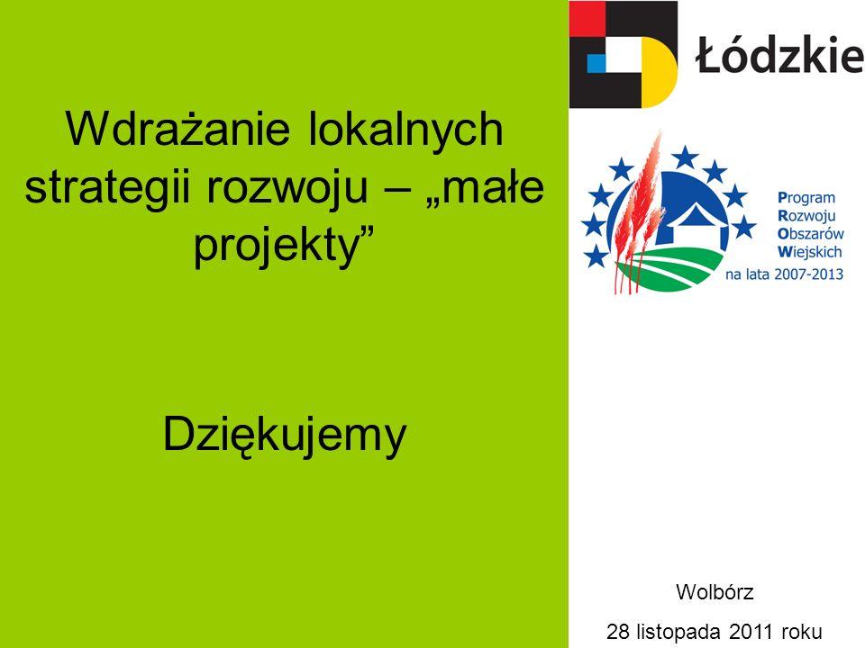 Wdrażanie lokalnych strategii rozwoju – małe projekty Dziękujemy Wolbórz 28 listopada 2011 roku