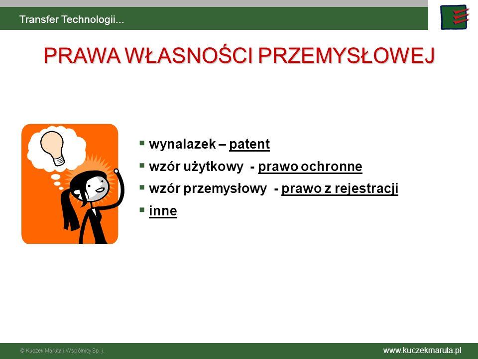 www.kuczekmaruta.pl © Kuczek Maruta i Wspólnicy Sp. j. Transfer Technologii... wynalazek – patent wzór użytkowy - prawo ochronne wzór przemysłowy - pr