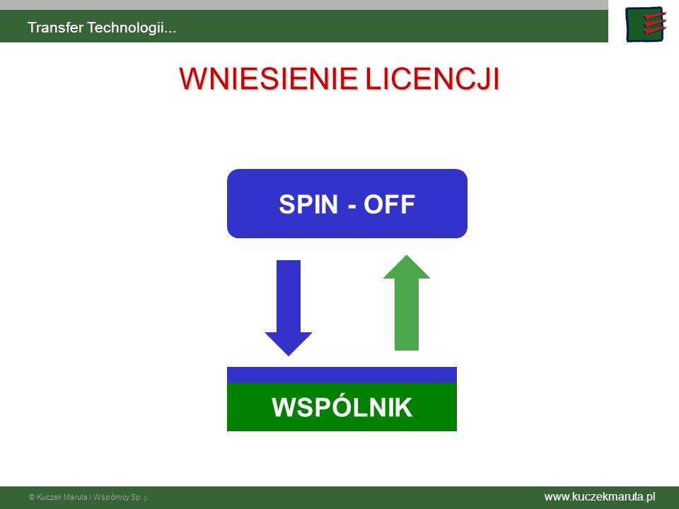 www.kuczekmaruta.pl © Kuczek Maruta i Wspólnicy Sp. j. Transfer Technologii... SPIN - OFF WNIESIENIE LICENCJI WSPÓLNIK
