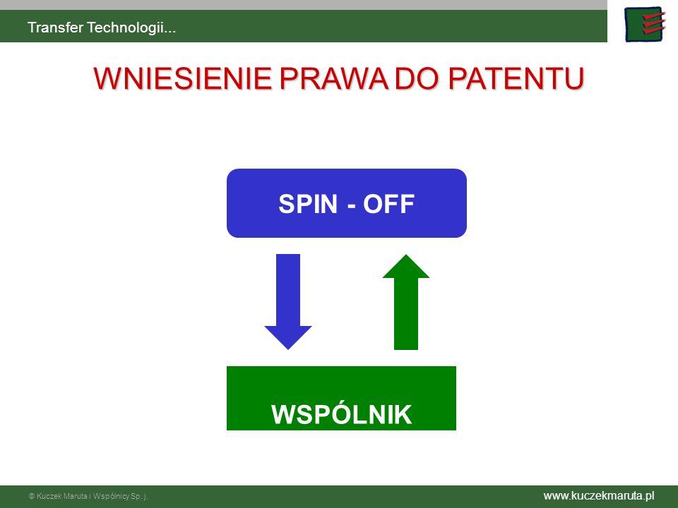 www.kuczekmaruta.pl © Kuczek Maruta i Wspólnicy Sp. j. Transfer Technologii... SPIN - OFF WNIESIENIE PRAWA DO PATENTU WSPÓLNIK