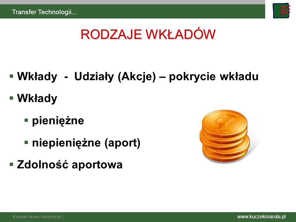 www.kuczekmaruta.pl © Kuczek Maruta i Wspólnicy Sp. j. Transfer Technologii... Wkłady - Udziały (Akcje) – pokrycie wkładu Wkłady pieniężne niepieniężn
