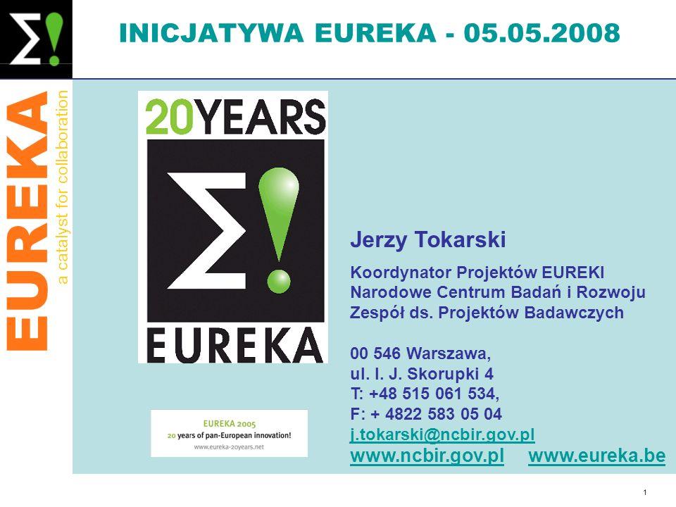 EUREKA a catalyst for collaboration 1 INICJATYWA EUREKA - 05.05.2008 Jerzy Tokarski Koordynator Projektów EUREKI Narodowe Centrum Badań i Rozwoju Zesp