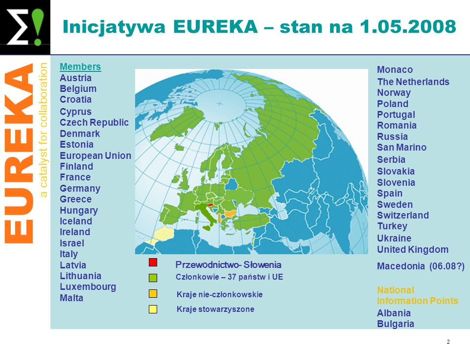 EUREKA a catalyst for collaboration 2 Inicjatywa EUREKA – stan na 1.05.2008 Members Austria Belgium Croatia Cyprus Czech Republic Denmark Estonia Euro
