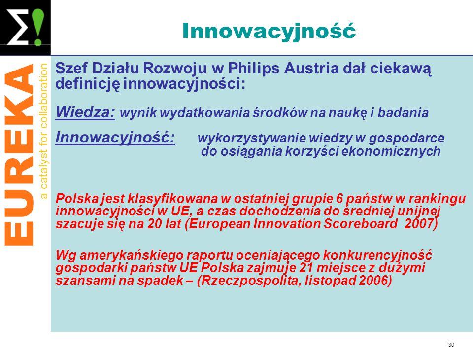 EUREKA a catalyst for collaboration 30 Innowacyjność Szef Działu Rozwoju w Philips Austria dał ciekawą definicję innowacyjności: Wiedza: wynik wydatko