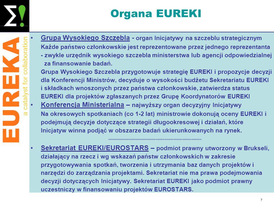 EUREKA a catalyst for collaboration 7 Organa EUREKI Grupa Wysokiego Szczebla - organ Inicjatywy na szczeblu strategicznym Każde państwo członkowskie j