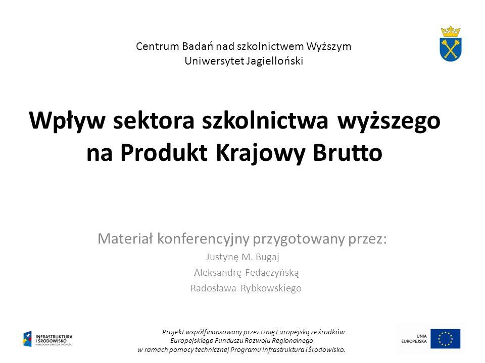Wpływ sektora szkolnictwa wyższego na Produkt Krajowy Brutto Materiał konferencyjny przygotowany przez: Justynę M. Bugaj Aleksandrę Fedaczyńską Radosł