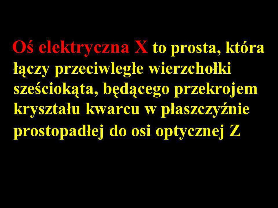 Oś elektryczna X to prosta, która łączy przeciwległe wierzchołki sześciokąta, będącego przekrojem kryształu kwarcu w płaszczyźnie prostopadłej do osi