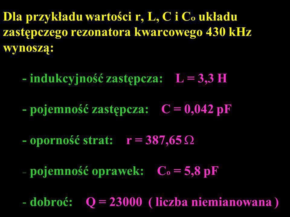 Dla przykładu wartości r, L, C i C O układu zastępczego rezonatora kwarcowego 430 kHz wynoszą: - indukcyjność zastępcza: L = 3,3 H - pojemność zastępc