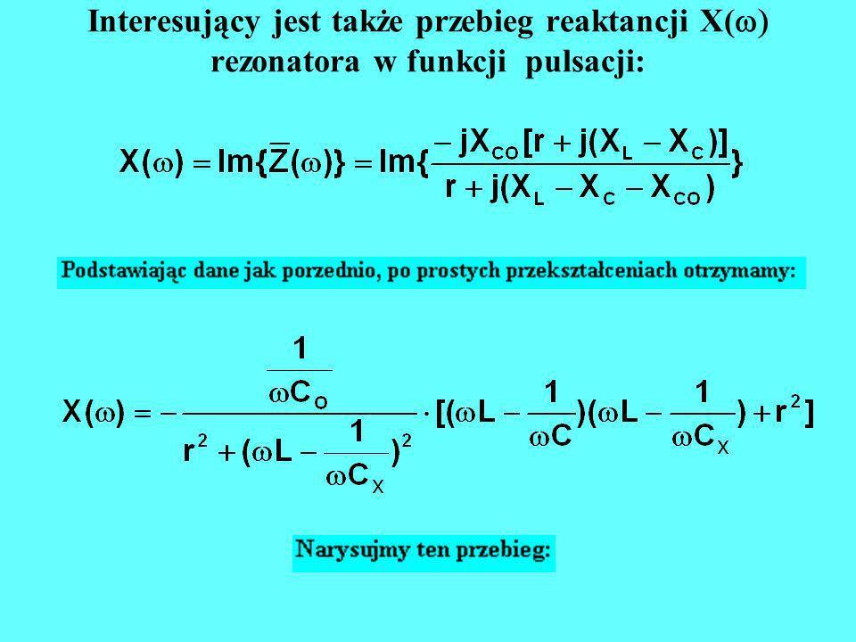 Interesujący jest także przebieg reaktancji X( rezonatora w funkcji pulsacji: